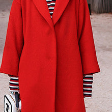 Load image into Gallery viewer, women red Winter coat plus size Notched Wool Coat vintage pockets tie waist wool jackets