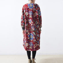 Load image into Gallery viewer, women red cotton coats casual maxi coat Elegant long coats floral