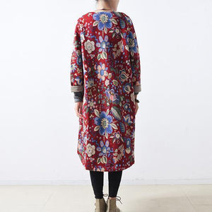 women red cotton coats casual maxi coat Elegant long coats floral