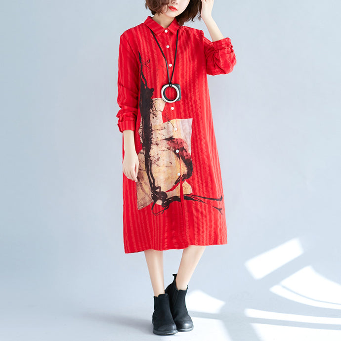 women red cotton shift shirt dresses plus size holiday dresses Elegant long sleeve Turn-down Collar cotton shirt dress