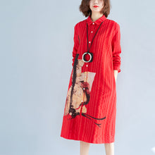 Load image into Gallery viewer, women red cotton shift shirt dresses plus size holiday dresses Elegant long sleeve Turn-down Collar cotton shirt dress