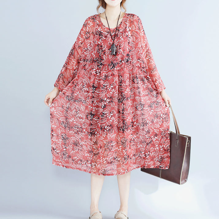 women red floral chiffon dress plus size clothing dresses long sleeve two pieces and cotton sleeveless dress