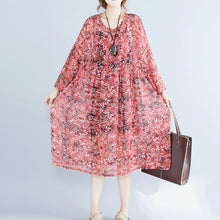 Load image into Gallery viewer, women red floral chiffon dress plus size clothing dresses long sleeve two pieces and cotton sleeveless dress