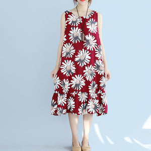 women red linen dresses oversize traveling dress Fine sleeveless floral cotton dresses