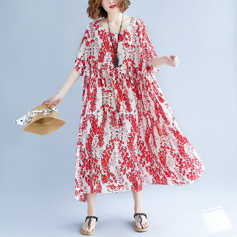 women red linen maxi dress oversize short sleeve print long cotton dresses fine o neck traveling clothing