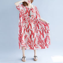 Load image into Gallery viewer, women red linen maxi dress oversize short sleeve print long cotton dresses top quality o neck traveling clothing