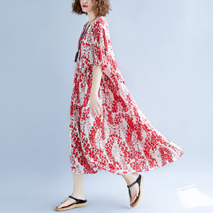 women red linen maxi dress oversize short sleeve print long cotton dresses top quality o neck traveling clothing