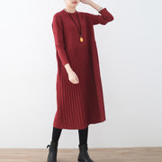 women red long sweaters oversized o neck sweater fine Cinched fall dresses