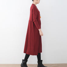 Load image into Gallery viewer, women red long sweaters oversized o neck sweater top quality wrinkled fall dresses