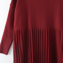 Afbeelding in Gallery-weergave laden, women red long sweaters oversized o neck sweater fine wrinkled fall dresses
