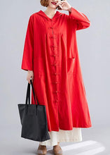 Load image into Gallery viewer, women red overcoat plus size hooded coats pockets Chinese Button coats