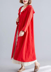 women red overcoat plus size hooded coats pockets Chinese Button coats