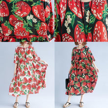 Load image into Gallery viewer, women red print natural silk blended dress oversized dress boutique short sleeve o neck exra large hem midi dress
