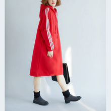 Load image into Gallery viewer, women red spring dress cotton oversize holiday dresses warm thick hooded
