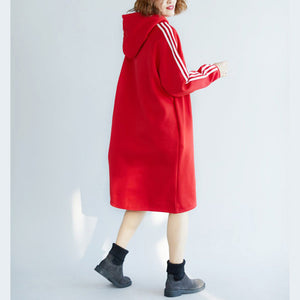 women red spring dress cotton oversize holiday dresses warm thick hooded