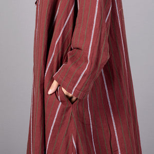 women red striped trendy plus size stand collar gown vintage baggy pockets maxi dresses