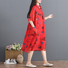 Load image into Gallery viewer, women red summer dress turn down collar Half sleeve cocktail dress print baggy dresses chiffon sundress