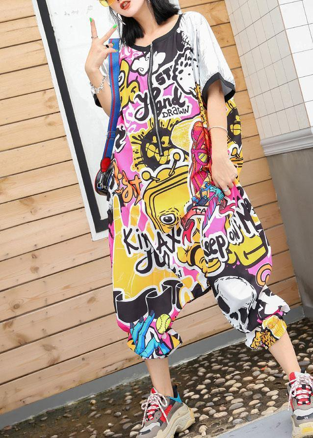 women summer blended floral pants plus size patchwork color short sleeve jumpsuit pants