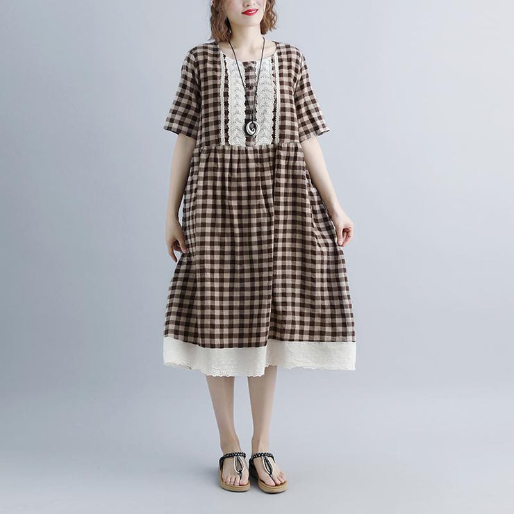 women summer dresses casual Lacing Short Sleeve Plaid Pockets Retro Casual Dress
