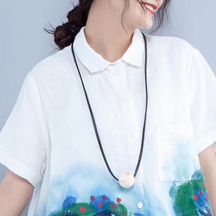 women summer linen tops Loose fitting Printing linen Loose Pocket White Blouse