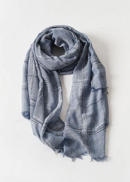 women tassel dark blue cotton linen big scarf casual vintage scarves