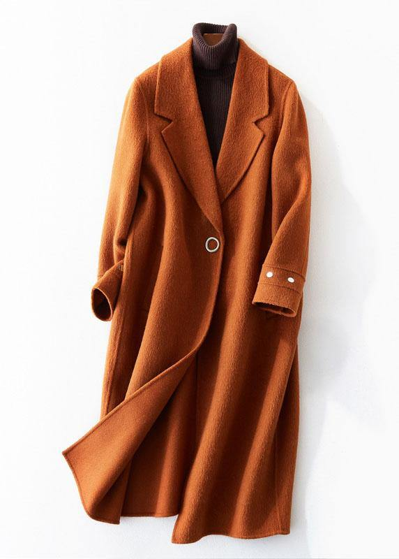 women trendy plus size medium length jackets coat brown lapel collar Woolen Coats