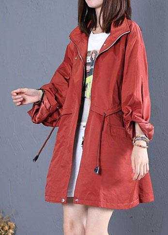 women trendy plus size mid-length coats fall red drawstring Coats
