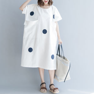 women white dotted cotton shift dress oversize shirt dress New short sleeve O neck baggy dresses natural cotton dress