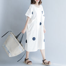 Load image into Gallery viewer, women white dotted cotton shift dress oversize shirt dress New short sleeve O neck baggy dresses natural cotton dress