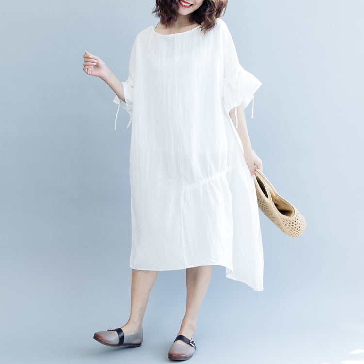 women white long cotton linen dress plus size O neck drawstring caftans top quality Petal Sleeve baggy dresses
