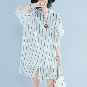 women white pure cotton dress casual dress women long sleeve Hooded striped clothing dress