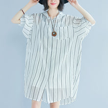 Load image into Gallery viewer, women white pure cotton dress casual dress women long sleeve Hooded striped clothing dress