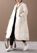Load image into Gallery viewer, women white warm winter coat plus size winter Notched pockets outwear