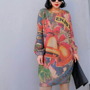 women winter fashion prints knit dresses oversize warm o neck wild sweater dress