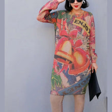 Load image into Gallery viewer, women winter fashion prints knit dresses oversize warm o neck wild sweater dress