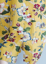 Load image into Gallery viewer, women yellow Midi linen dresses trendy plus size traveling clothing vintage back open floral cotton dresses