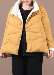 women yellow duck down coat Loose fitting snow jackets stand collar pockets Luxury overcoat
