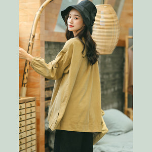 women yellow shirt plus size clothing stand collar baggy t shirts 2018 side open clothing tops