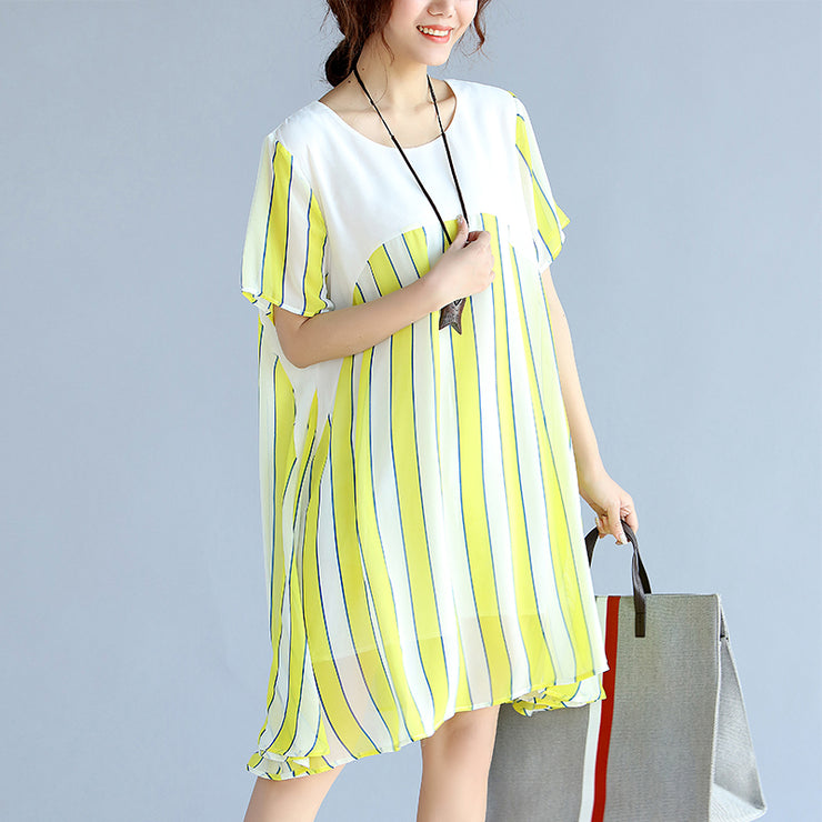 women yellow striped  chiffon dress oversized chiffon patchwork o neck chiffon clothing dresses
