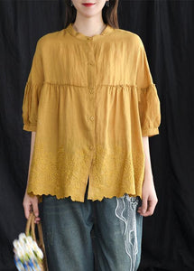 yellow Women Loose Chic cotton Tunic boutique Embroidery Summer Vintage Shirt