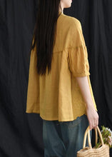 Load image into Gallery viewer, yellow Women Loose Chic cotton Tunic boutique Embroidery Summer Vintage Shirt