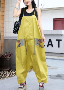 yellow casual prints strap pants plus size women jumpsuit pants