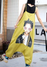 Load image into Gallery viewer, yellow casual prints strap pants plus size women jumpsuit pants