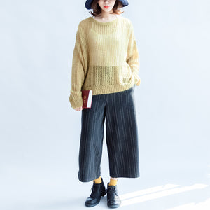 yellow green fashion cotton sweater oversize side open cable knit hollow out sweaters