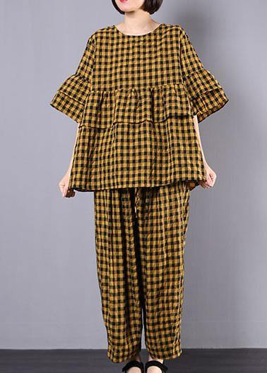yellow plaid cotton linen patchwork ruffles tops and women wide leg pants two pieces