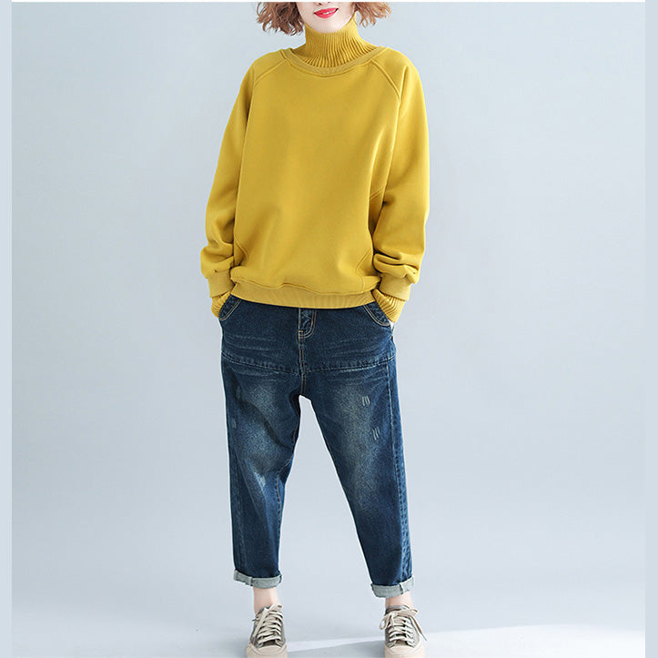 yellow stylish false two pieces sweaters knit sweat tops high neck blouse