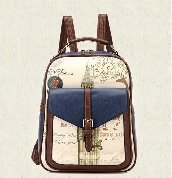 Print Leather Backpack
