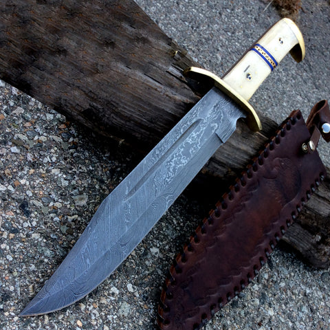 "TheBoneEdge 16.5"" Damascus Blade Horn Handle Hunting Knives with Leather Sheath"