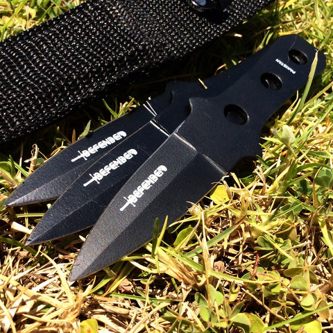 "Defender 6"" Throwing Knives 3pc Set with Sheath New"