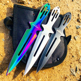 Defender 3PC Set Throwing Knives Sharp Point Carbon Steel W/ Sheath